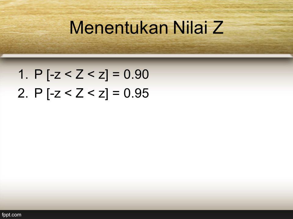 Menentukan Nilai Z 1.P [-z < Z < z] = 0.90 2.P [-z < Z < z] = 0.95