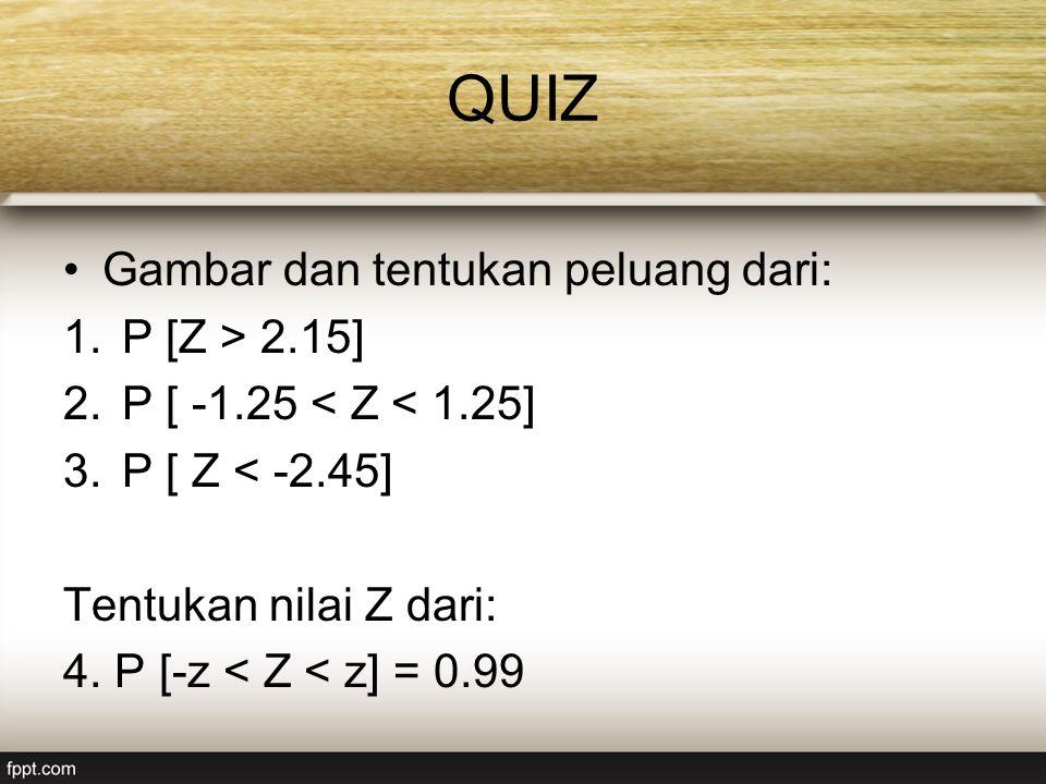 QUIZ Gambar dan tentukan peluang dari: 1.P [Z > 2.15] 2.P [ -1.25 < Z < 1.25] 3.P [ Z < -2.45] Tentukan nilai Z dari: 4.