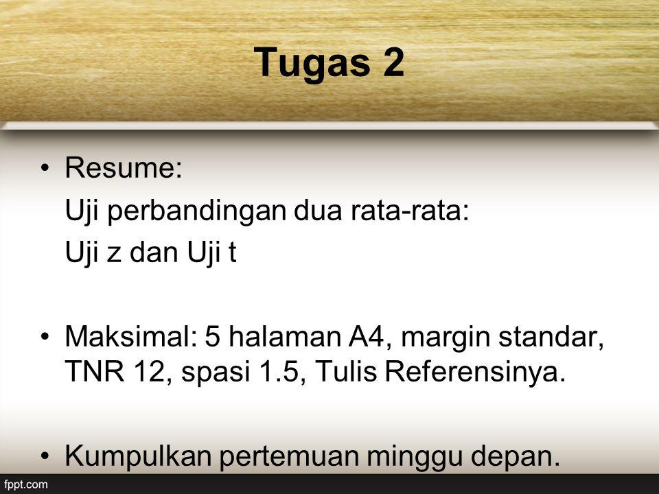 Tugas 2 Resume: Uji perbandingan dua rata-rata: Uji z dan Uji t Maksimal: 5 halaman A4, margin standar, TNR 12, spasi 1.5, Tulis Referensinya.