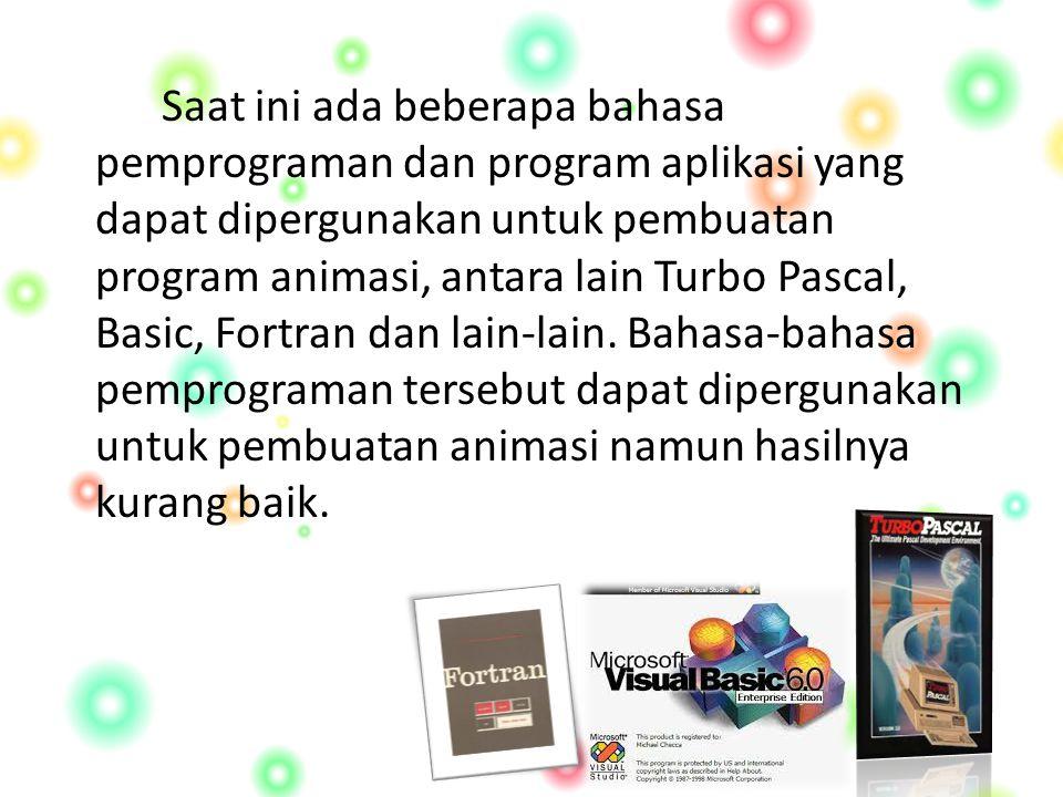 Saat ini ada beberapa bahasa pemprograman dan program aplikasi yang dapat dipergunakan untuk pembuatan program animasi, antara lain Turbo Pascal, Basic, Fortran dan lain-lain.