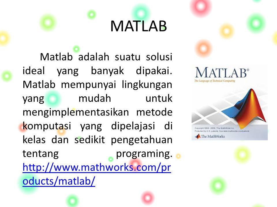 MATLAB Matlab adalah suatu solusi ideal yang banyak dipakai.