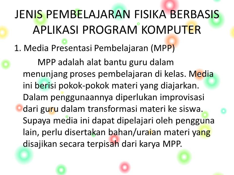 JENIS PEMBELAJARAN FISIKA BERBASIS APLIKASI PROGRAM KOMPUTER 1.