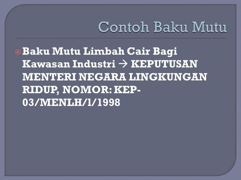  Baku Mutu Limbah Cair Bagi Kawasan Industri  KEPUTUSAN MENTERI NEGARA LINGKUNGAN RIDUP, NOMOR: KEP- 03/MENLH/l/1998