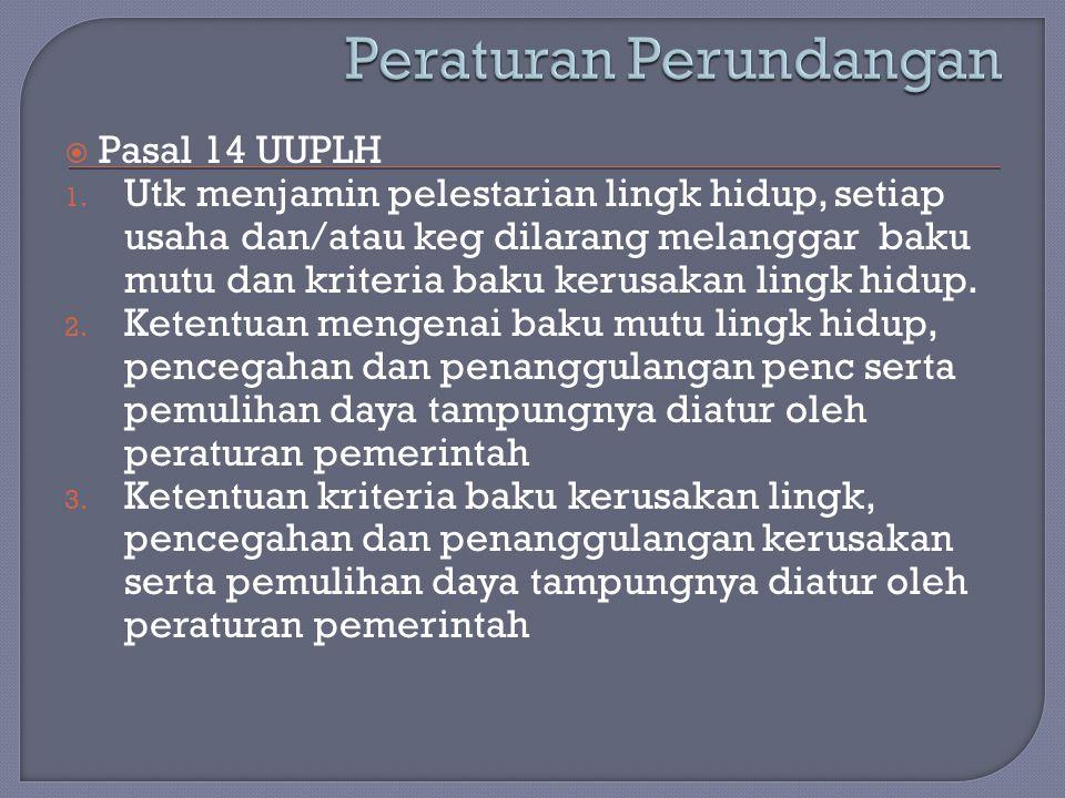  Pasal 14 UUPLH 1. Utk menjamin pelestarian lingk hidup, setiap usaha dan/atau keg dilarang melanggar baku mutu dan kriteria baku kerusakan lingk hid