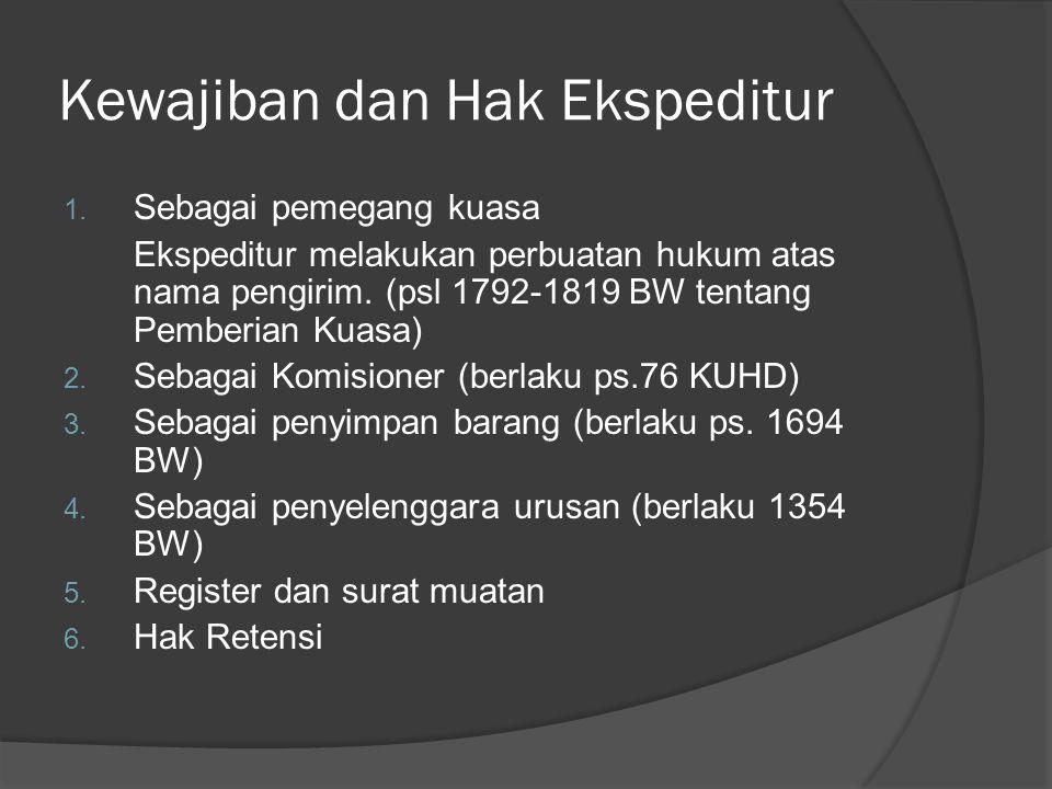 Kewajiban dan Hak Ekspeditur 1. Sebagai pemegang kuasa Ekspeditur melakukan perbuatan hukum atas nama pengirim. (psl 1792-1819 BW tentang Pemberian Ku