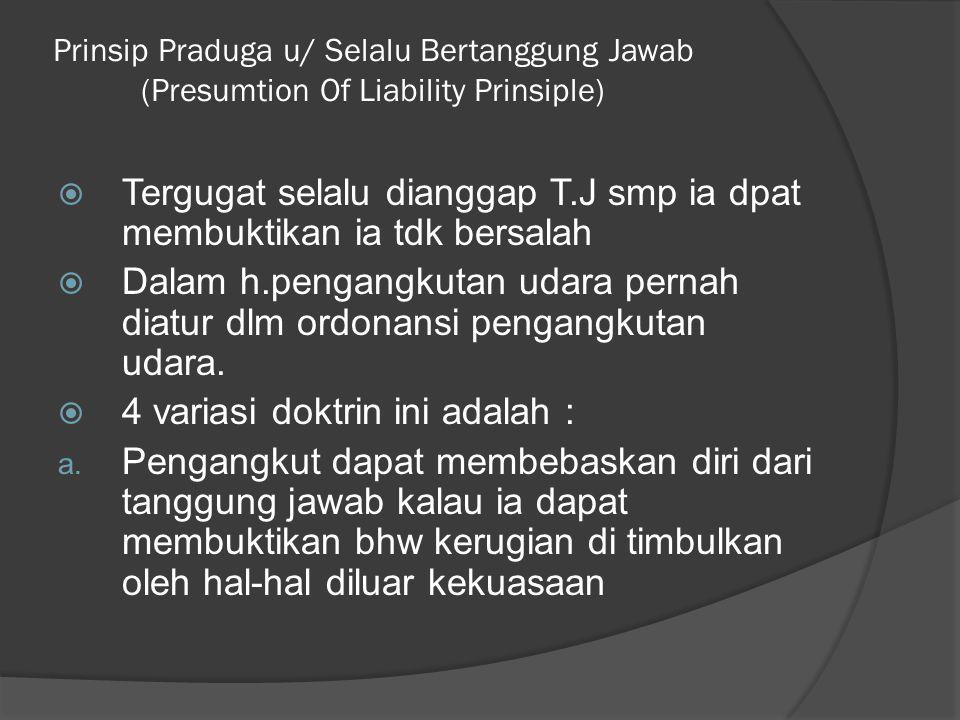 Prinsip Praduga u/ Selalu Bertanggung Jawab (Presumtion Of Liability Prinsiple)  Tergugat selalu dianggap T.J smp ia dpat membuktikan ia tdk bersalah