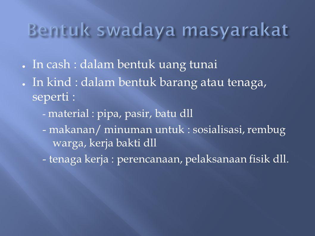 ● In cash : dalam bentuk uang tunai ● In kind : dalam bentuk barang atau tenaga, seperti : - material : pipa, pasir, batu dll - makanan/ minuman untuk : sosialisasi, rembug warga, kerja bakti dll - tenaga kerja : perencanaan, pelaksanaan fisik dll.