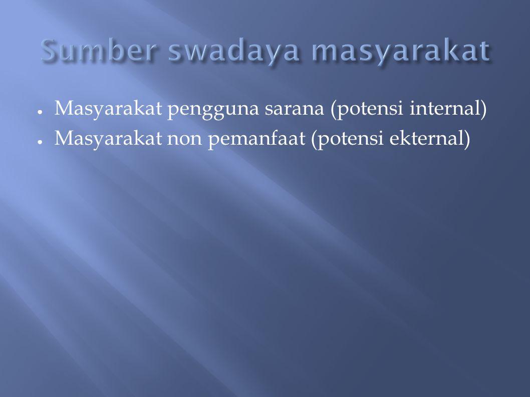 ● Masyarakat pengguna sarana (potensi internal) ● Masyarakat non pemanfaat (potensi ekternal)