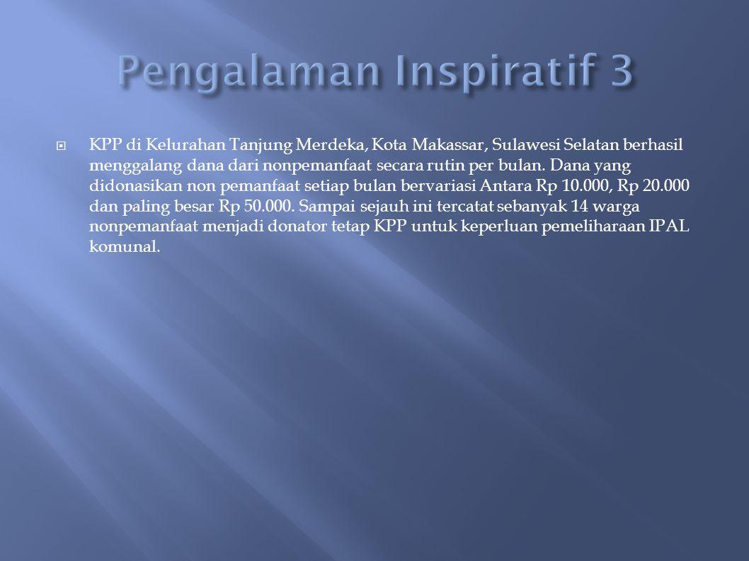  KPP di Kelurahan Tanjung Merdeka, Kota Makassar, Sulawesi Selatan berhasil menggalang dana dari nonpemanfaat secara rutin per bulan.