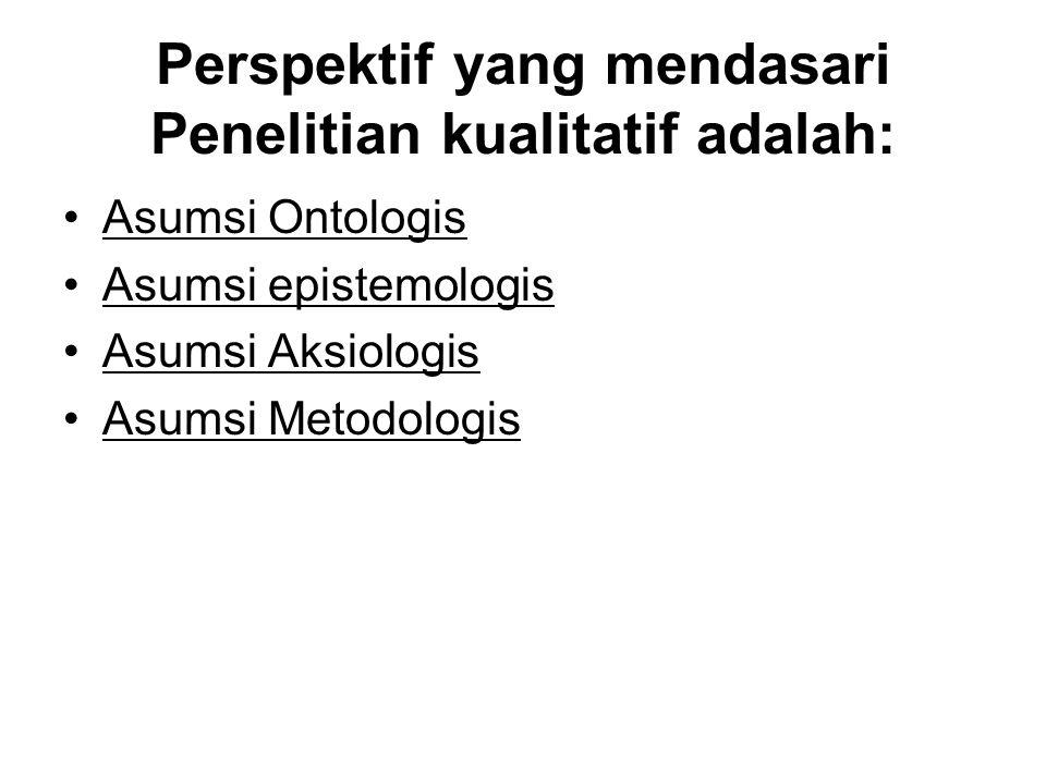 Perspektif yang mendasari Penelitian kualitatif adalah: Asumsi Ontologis Asumsi epistemologis Asumsi Aksiologis Asumsi Metodologis
