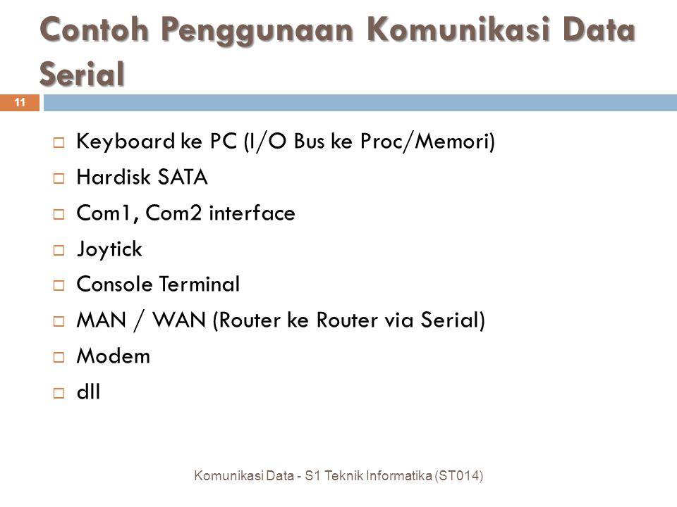 Contoh Penggunaan Komunikasi Data Serial  Keyboard ke PC (I/O Bus ke Proc/Memori)  Hardisk SATA  Com1, Com2 interface  Joytick  Console Terminal  MAN / WAN (Router ke Router via Serial)  Modem  dll 11 Komunikasi Data - S1 Teknik Informatika (ST014)