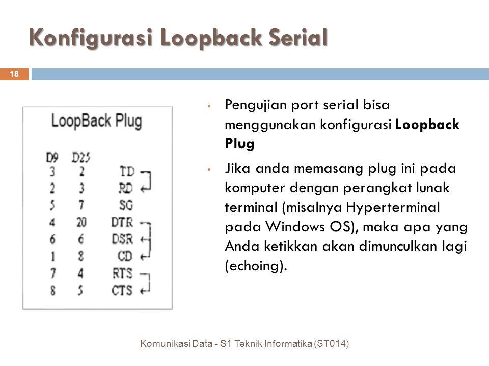 Konfigurasi Loopback Serial 18 Pengujian port serial bisa menggunakan konfigurasi Loopback Plug Jika anda memasang plug ini pada komputer dengan perangkat lunak terminal (misalnya Hyperterminal pada Windows OS), maka apa yang Anda ketikkan akan dimunculkan lagi (echoing).