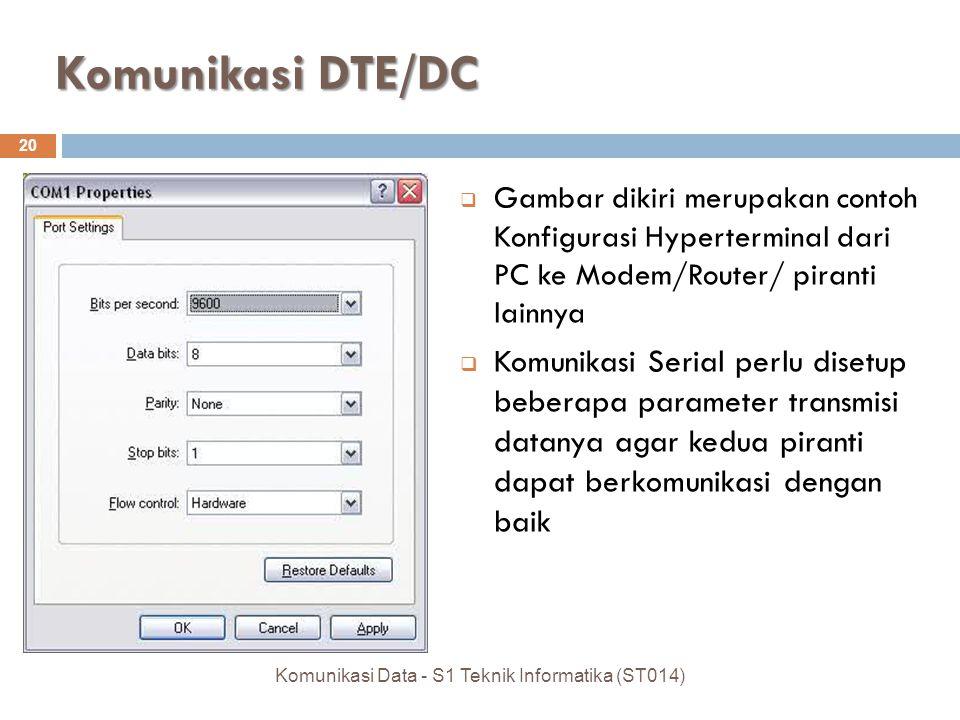 Komunikasi DTE/DC 20  Gambar dikiri merupakan contoh Konfigurasi Hyperterminal dari PC ke Modem/Router/ piranti lainnya  Komunikasi Serial perlu disetup beberapa parameter transmisi datanya agar kedua piranti dapat berkomunikasi dengan baik Komunikasi Data - S1 Teknik Informatika (ST014)