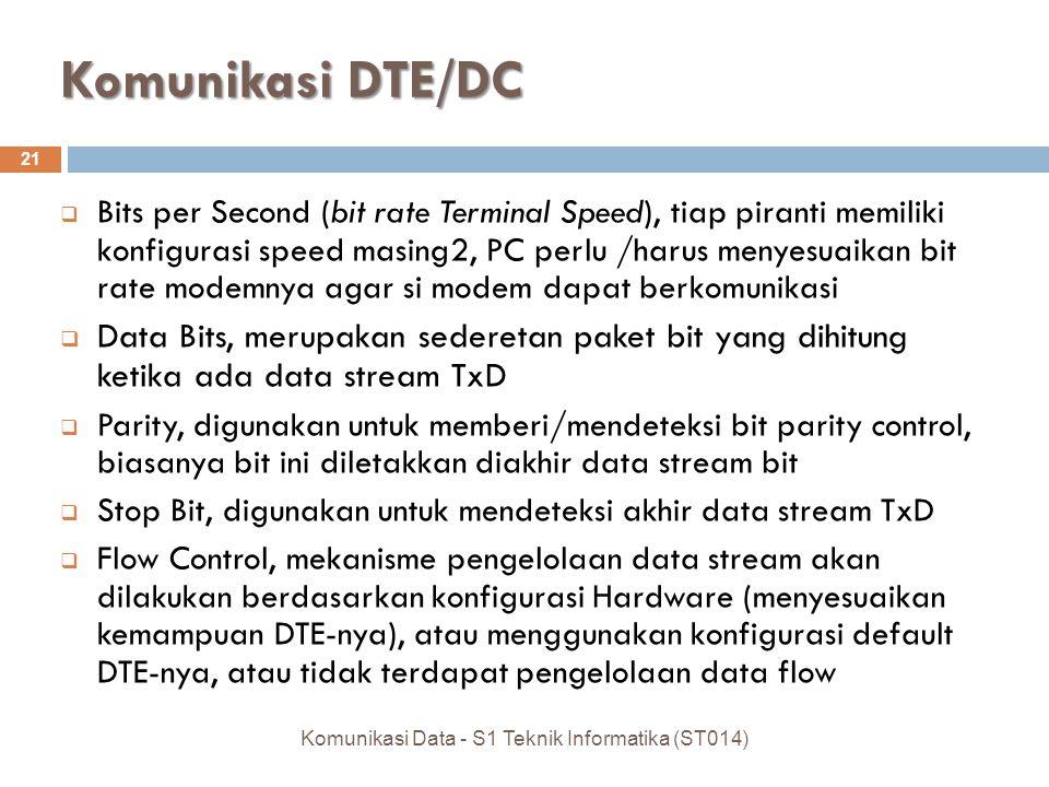 Komunikasi DTE/DC 21  Bits per Second (bit rate Terminal Speed), tiap piranti memiliki konfigurasi speed masing2, PC perlu /harus menyesuaikan bit rate modemnya agar si modem dapat berkomunikasi  Data Bits, merupakan sederetan paket bit yang dihitung ketika ada data stream TxD  Parity, digunakan untuk memberi/mendeteksi bit parity control, biasanya bit ini diletakkan diakhir data stream bit  Stop Bit, digunakan untuk mendeteksi akhir data stream TxD  Flow Control, mekanisme pengelolaan data stream akan dilakukan berdasarkan konfigurasi Hardware (menyesuaikan kemampuan DTE-nya), atau menggunakan konfigurasi default DTE-nya, atau tidak terdapat pengelolaan data flow Komunikasi Data - S1 Teknik Informatika (ST014)