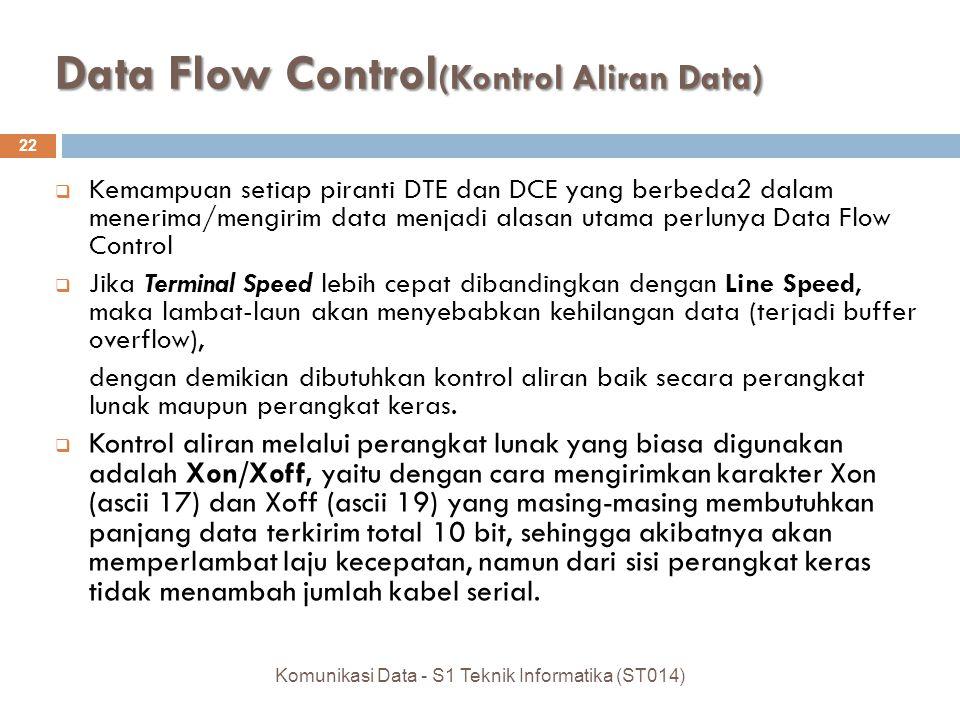 Data Flow Control (Kontrol Aliran Data) 22  Kemampuan setiap piranti DTE dan DCE yang berbeda2 dalam menerima/mengirim data menjadi alasan utama perlunya Data Flow Control  Jika Terminal Speed lebih cepat dibandingkan dengan Line Speed, maka lambat-laun akan menyebabkan kehilangan data (terjadi buffer overflow), dengan demikian dibutuhkan kontrol aliran baik secara perangkat lunak maupun perangkat keras.