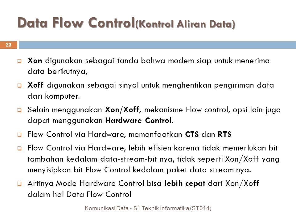 Data Flow Control (Kontrol Aliran Data) 23  Xon digunakan sebagai tanda bahwa modem siap untuk menerima data berikutnya,  Xoff digunakan sebagai sinyal untuk menghentikan pengiriman data dari komputer.