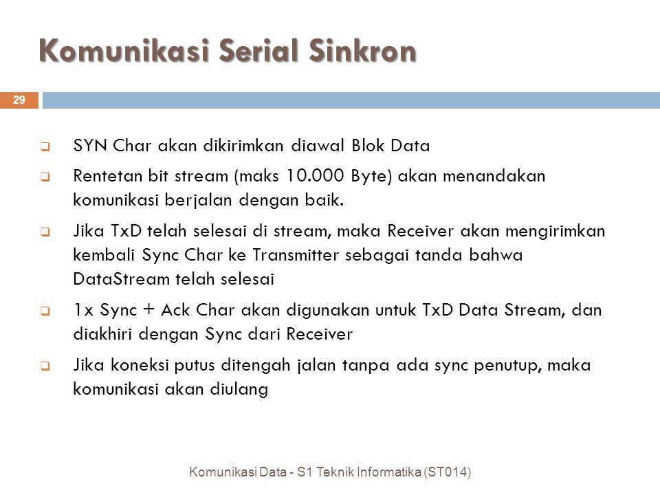 Komunikasi Serial Sinkron 29 Komunikasi Data - S1 Teknik Informatika (ST014)  SYN Char akan dikirimkan diawal Blok Data  Rentetan bit stream (maks 10.000 Byte) akan menandakan komunikasi berjalan dengan baik.