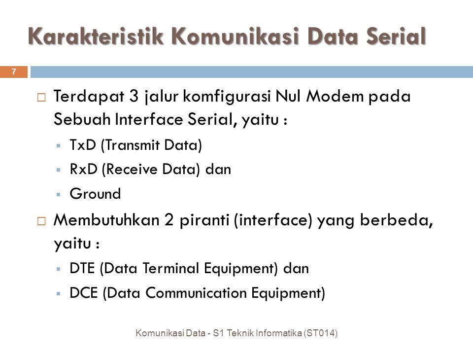 Karakteristik Komunikasi Data Serial  Terdapat 3 jalur komfigurasi Nul Modem pada Sebuah Interface Serial, yaitu :  TxD (Transmit Data)  RxD (Receive Data) dan  Ground  Membutuhkan 2 piranti (interface) yang berbeda, yaitu :  DTE (Data Terminal Equipment) dan  DCE (Data Communication Equipment) 7 Komunikasi Data - S1 Teknik Informatika (ST014)