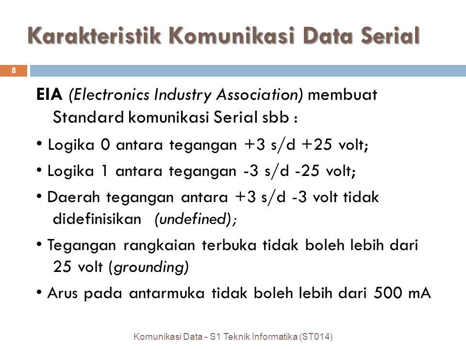 Karakteristik Komunikasi Data Serial EIA (Electronics Industry Association) membuat Standard komunikasi Serial sbb : Logika 0 antara tegangan +3 s/d +25 volt; Logika 1 antara tegangan -3 s/d -25 volt; Daerah tegangan antara +3 s/d -3 volt tidak didefinisikan (undefined); Tegangan rangkaian terbuka tidak boleh lebih dari 25 volt (grounding) Arus pada antarmuka tidak boleh lebih dari 500 mA 8 Komunikasi Data - S1 Teknik Informatika (ST014)