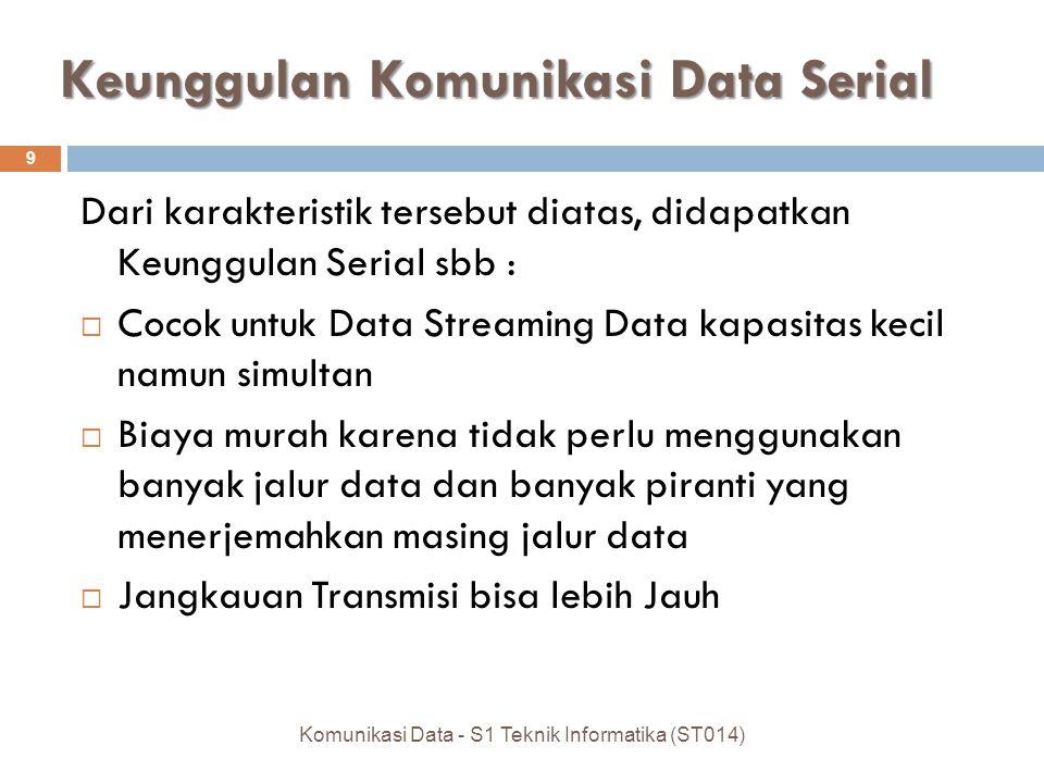 Keunggulan Komunikasi Data Serial Dari karakteristik tersebut diatas, didapatkan Keunggulan Serial sbb :  Cocok untuk Data Streaming Data kapasitas kecil namun simultan  Biaya murah karena tidak perlu menggunakan banyak jalur data dan banyak piranti yang menerjemahkan masing jalur data  Jangkauan Transmisi bisa lebih Jauh 9 Komunikasi Data - S1 Teknik Informatika (ST014)