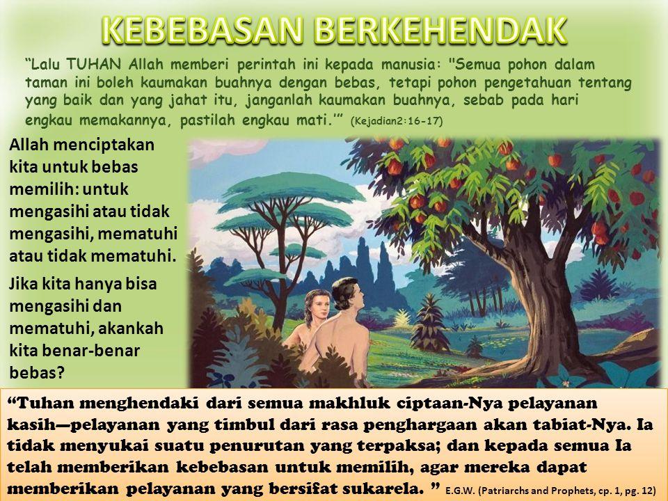 Adam dan Hawa bebas untuk memilih, dan mereka memilih untuk tidak menaati perintah Allah, Janganlah kau makan. Mereka kehilangan kebebasan mereka ketika mereka berdosa.