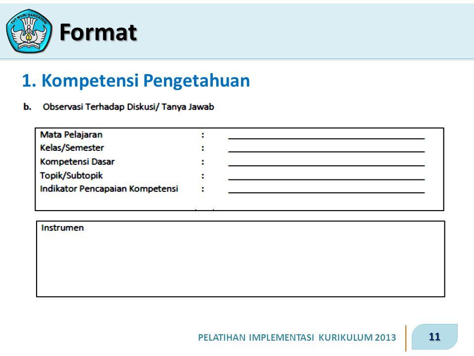 11 PELATIHAN IMPLEMENTASI KURIKULUM 2013 1. Kompetensi Pengetahuan Format