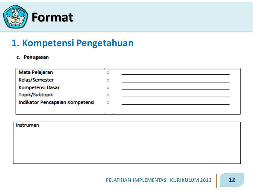 12 PELATIHAN IMPLEMENTASI KURIKULUM 2013 1. Kompetensi Pengetahuan Format