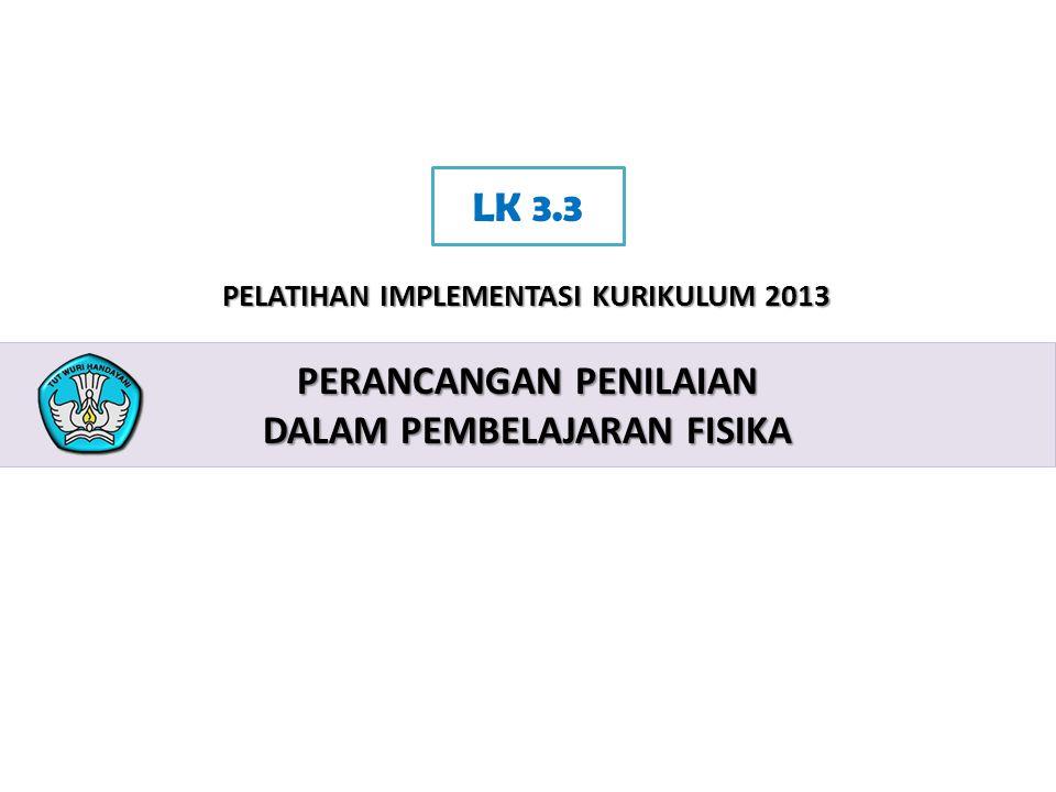 2 PELATIHAN IMPLEMENTASI KURIKULUM 2013 PERANCANGAN PENILAIAN DALAM PEMBELAJARAN FISIKA LK 3.3