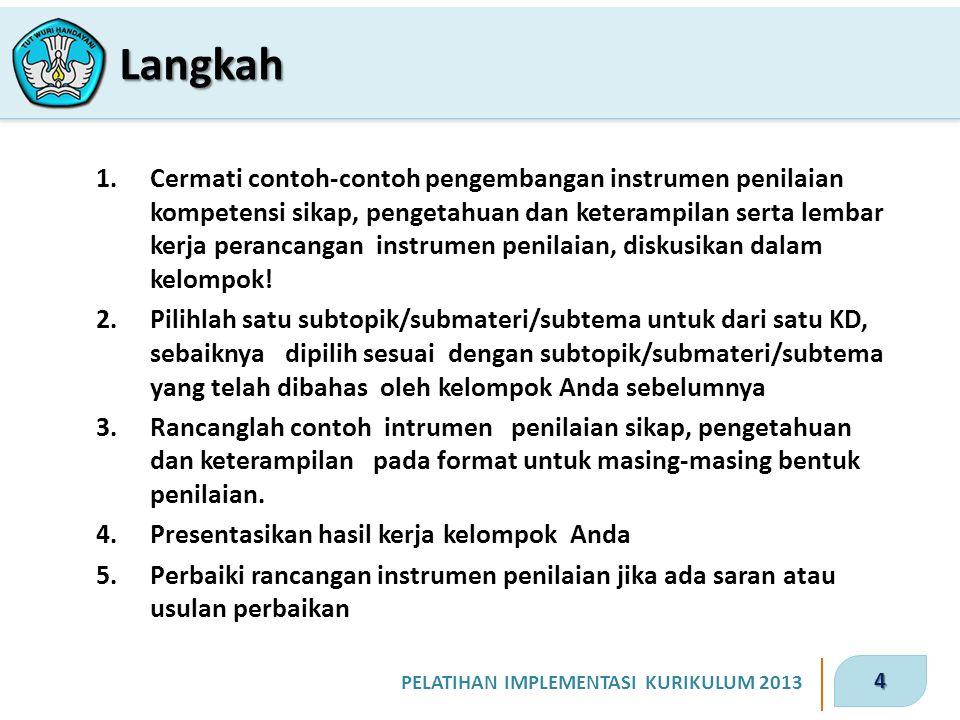 4 PELATIHAN IMPLEMENTASI KURIKULUM 2013 1.Cermati contoh-contoh pengembangan instrumen penilaian kompetensi sikap, pengetahuan dan keterampilan serta