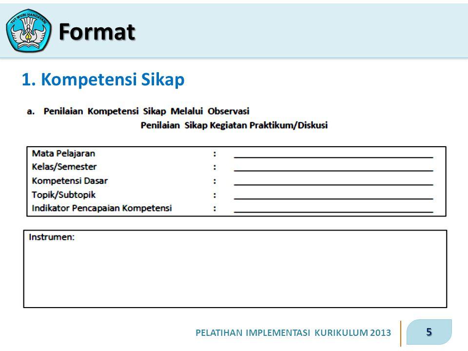5 PELATIHAN IMPLEMENTASI KURIKULUM 2013 1. Kompetensi Sikap Format