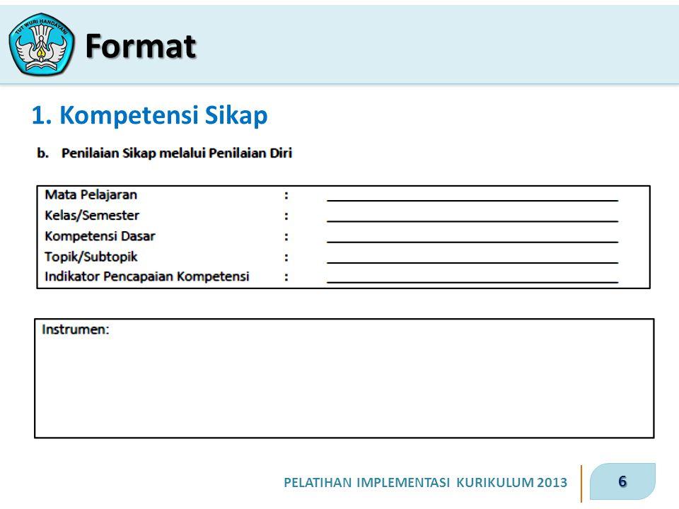 6 PELATIHAN IMPLEMENTASI KURIKULUM 2013 1. Kompetensi Sikap Format