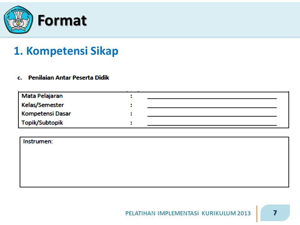 7 PELATIHAN IMPLEMENTASI KURIKULUM 2013 1. Kompetensi Sikap Format
