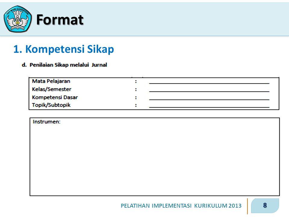 8 PELATIHAN IMPLEMENTASI KURIKULUM 2013 1. Kompetensi Sikap Format