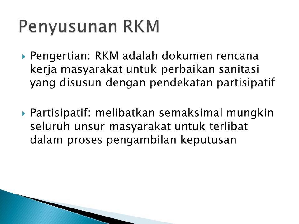  Pengertian: RKM adalah dokumen rencana kerja masyarakat untuk perbaikan sanitasi yang disusun dengan pendekatan partisipatif  Partisipatif: melibatkan semaksimal mungkin seluruh unsur masyarakat untuk terlibat dalam proses pengambilan keputusan