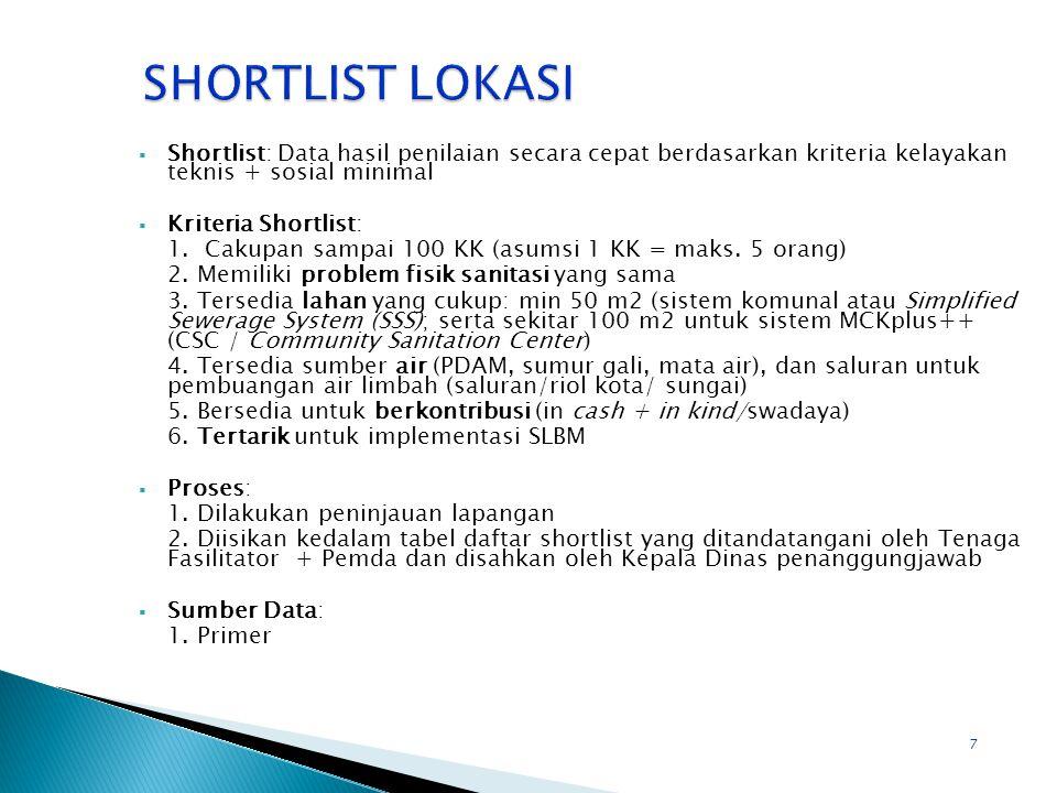 7  Shortlist: Data hasil penilaian secara cepat berdasarkan kriteria kelayakan teknis + sosial minimal  Kriteria Shortlist: 1.