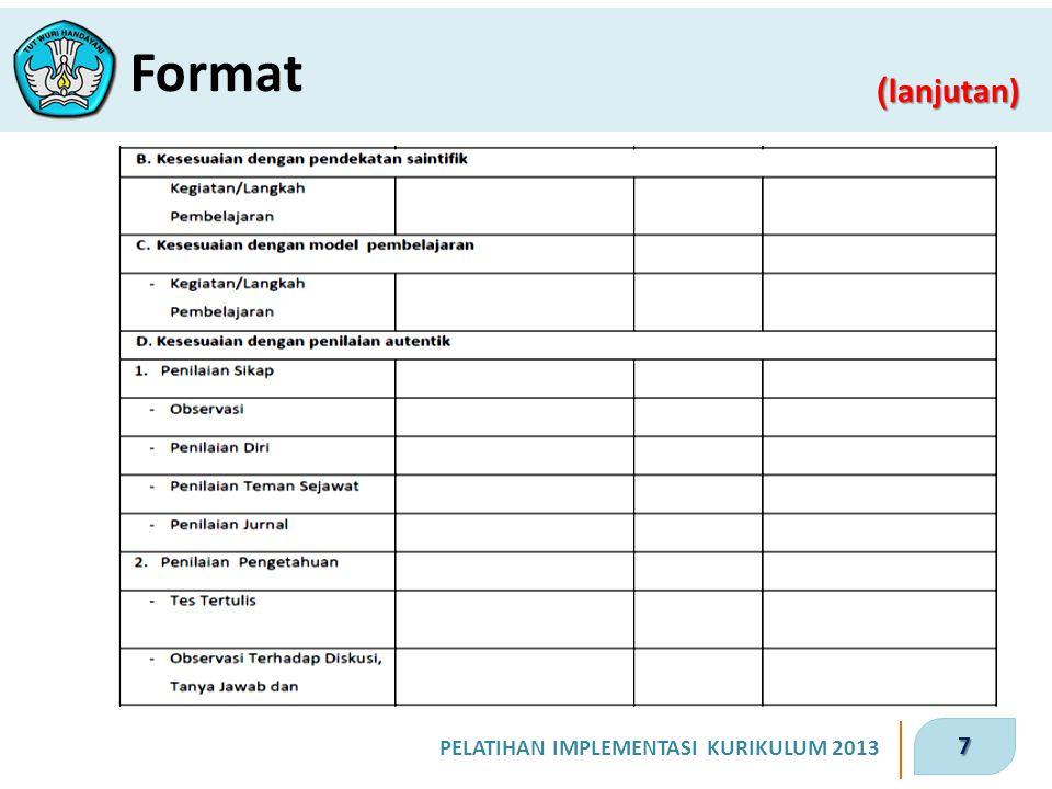 8 PELATIHAN IMPLEMENTASI KURIKULUM 2013 ( lanjutan) Format