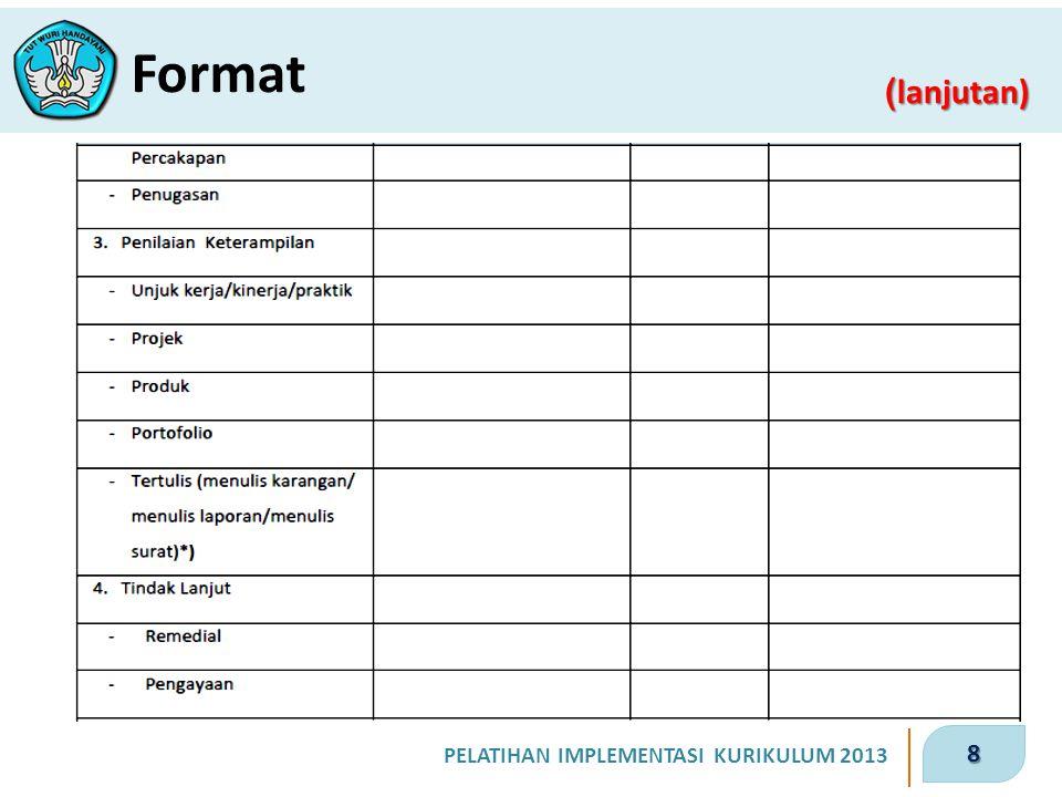 9 PELATIHAN IMPLEMENTASI KURIKULUM 2013 ( lanjutan) Format