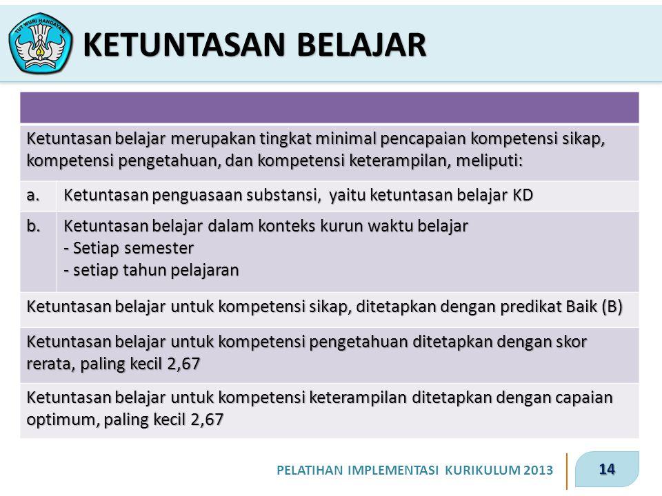 14 PELATIHAN IMPLEMENTASI KURIKULUM 2013 KETUNTASAN BELAJAR Ketuntasan belajar merupakan tingkat minimal pencapaian kompetensi sikap, kompetensi penge