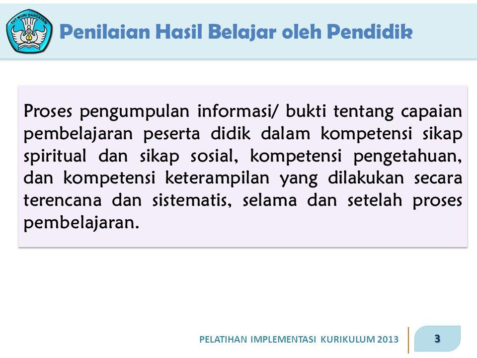 3 PELATIHAN IMPLEMENTASI KURIKULUM 2013 Proses pengumpulan informasi/ bukti tentang capaian pembelajaran peserta didik dalam kompetensi sikap spiritua