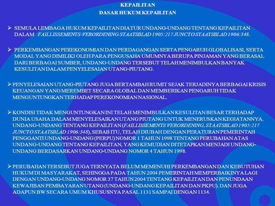 Click to edit Master text styles –Second level Third level –Fourth level »Fifth level PENGERTIAN DAN SYARAT KEPAILITAN  DALAM PASAL 1 ANGKA 1 UNDANG-UNDANG NOMOR 37 TAHUN 2004 TENTANG KEPAILITAN DAN PENUNDAAN KEWAJIBAN PEMBAYARAN UTANG (UNDANG-UNDANG KEPAILITAN DAN PKPU), KEPAILITAN DIARTIKAN SEBAGAI SITA UMUM ATAS SEMUA KEKAYAAN DEBITOR PAILIT YANG PENGURUSAN DAN PEMBERESANNYA DILAKUKAN OLEH KURATOR DI BAWAH PENGAWASAN HAKIM PENGAWAS.