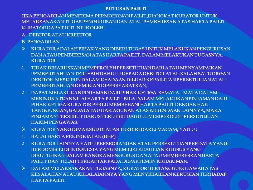 Click to edit Master text styles –Second level Third level –Fourth level »Fifth level PUTUSAN PAILIT JIKA PENGADILAN MENERIMA PERMOHONAN PAILIT,DIANGK