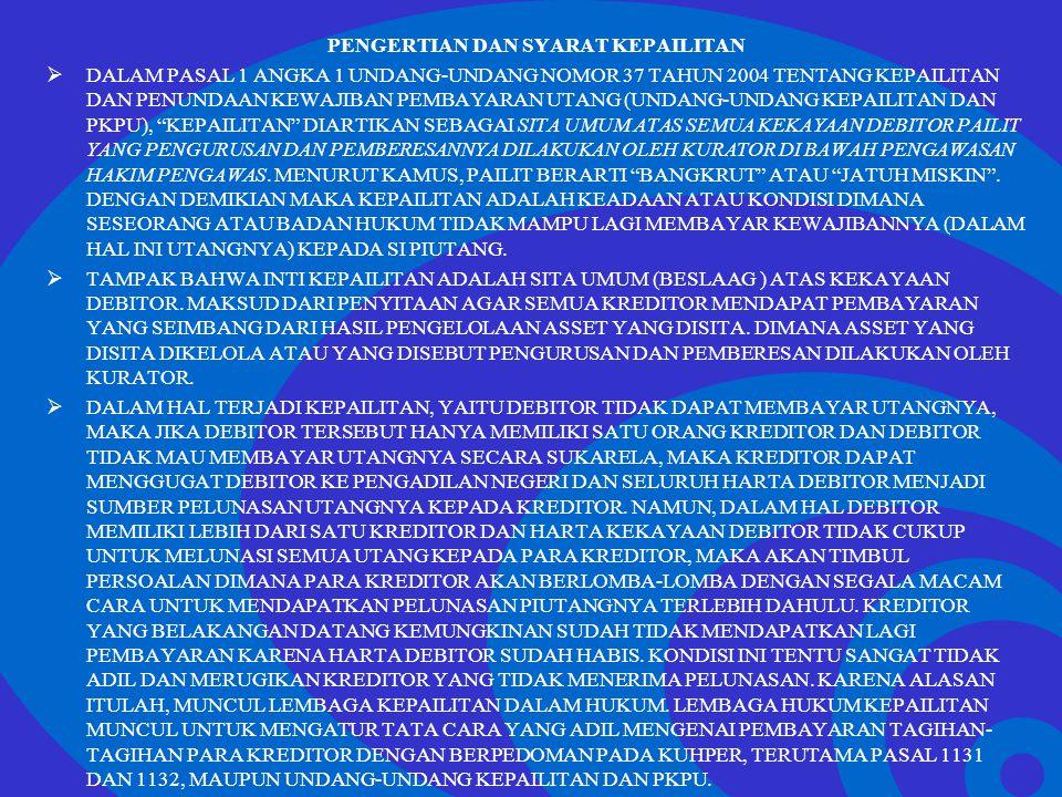 Click to edit Master text styles –Second level Third level –Fourth level »Fifth level DALAM PKPU INI TIDAK DIKENAL ADANYA PENGURUS SEMENTARA, DAN PENGURUS INI PUN HANYA DARI PENGURUS SWASTA.