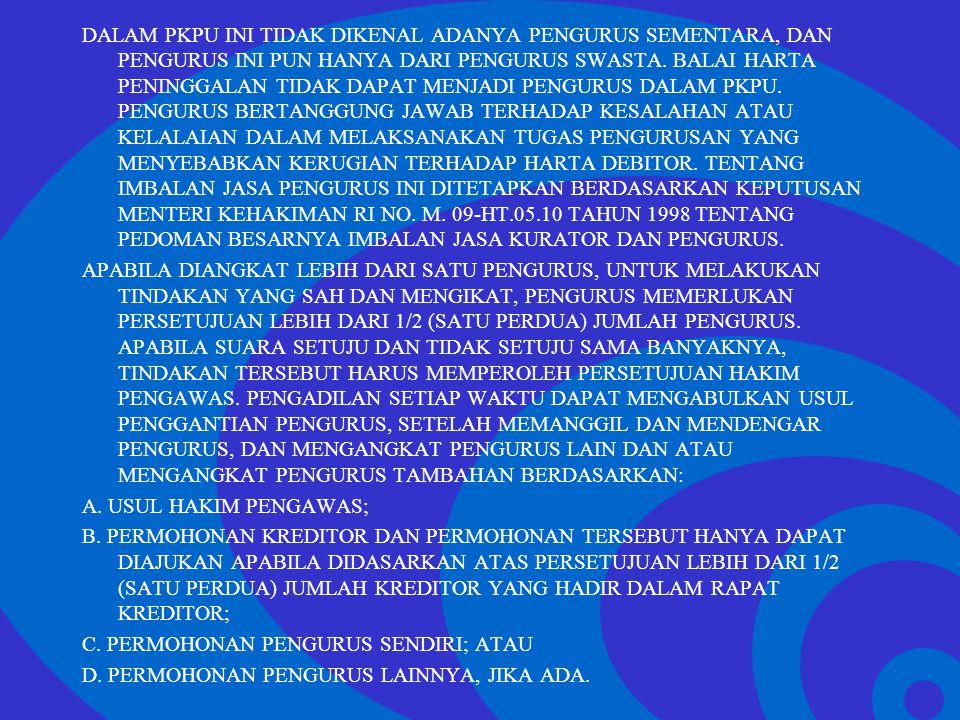 Click to edit Master text styles –Second level Third level –Fourth level »Fifth level DALAM PKPU INI TIDAK DIKENAL ADANYA PENGURUS SEMENTARA, DAN PENG