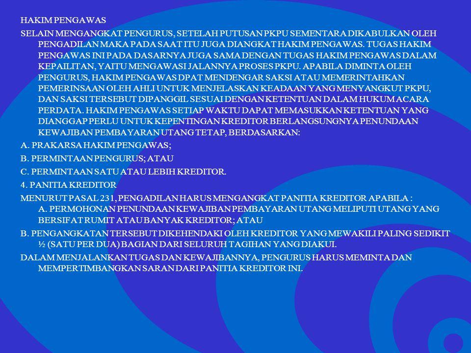 Click to edit Master text styles –Second level Third level –Fourth level »Fifth level HAKIM PENGAWAS SELAIN MENGANGKAT PENGURUS, SETELAH PUTUSAN PKPU