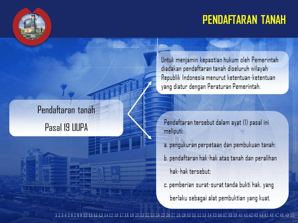 5 PENDAFTARAN TANAH Untuk menjamin kepastian hukum oleh Pemerintah diadakan pendaftaran tanah diseluruh wilayah Republik Indonesia menurut ketentuan-k