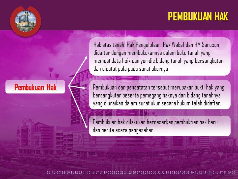 2 PEMBUKUAN HAK Hak atas tanah, Hak Pengelolaan, Hak Wakaf dan HM Sarusun didaftar dengan membukukannya dalam buku tanah yang memuat data fisik dan yu