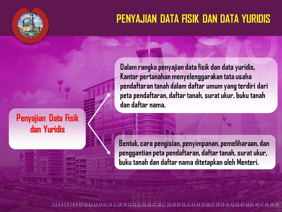 5 PENYAJIAN DATA FISIK DAN DATA YURIDIS Dalam rangka penyajian data fisik dan data yuridis, Kantor pertanahan menyelenggarakan tata usaha pendaftaran