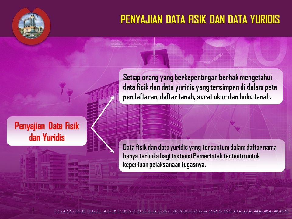 5 PENYAJIAN DATA FISIK DAN DATA YURIDIS Setiap orang yang berkepentingan berhak mengetahui data fisik dan data yuridis yang tersimpan di dalam peta pe