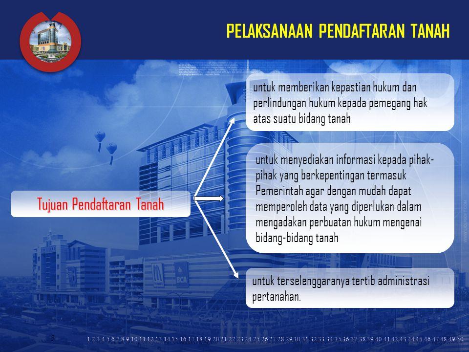5 PELAKSANAAN PENDAFTARAN TANAH untuk memberikan kepastian hukum dan perlindungan hukum kepada pemegang hak atas suatu bidang tanah untuk menyediakan