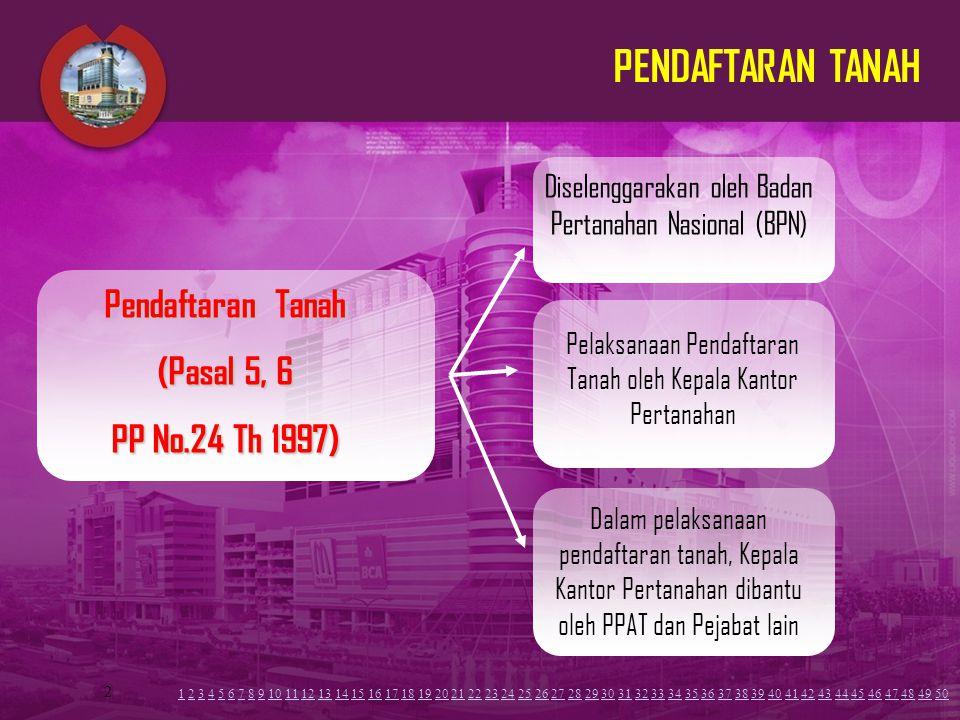 2 PENDAFTARAN TANAH Diselenggarakan oleh Badan Pertanahan Nasional (BPN) Pelaksanaan Pendaftaran Tanah oleh Kepala Kantor Pertanahan Pendaftaran Tanah